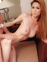 Lucky dude gets skull fucked by ladyboy