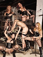 Extreme bdsm action with four shemales