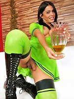 Sexy tranny babe in a cute green latex outfit