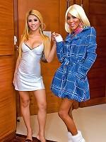 Dick-girls in peek-a-boo undies and spike heels